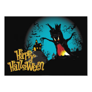 Scary Halloween Haunted house with tree Card