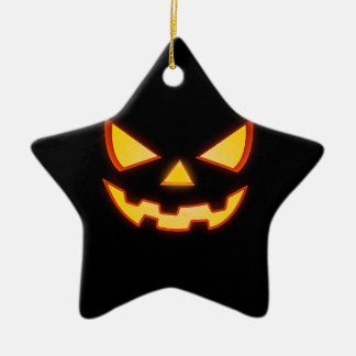 Scary Halloween horror Pumpkin Face Ceramic Star Ornament