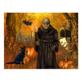 Scary Halloween Postcard with Frankenstein