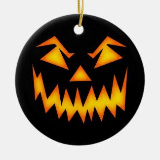 Scary Halloween Pumpkin Face Ceramic Ornament