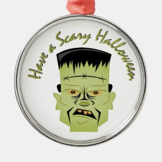 Scary Halloween Silver-Colored Round Ornament