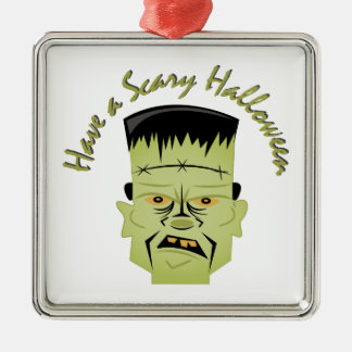 Scary Halloween Silver-Colored Square Ornament