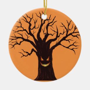 Scary Halloween Tree Ceramic Ornament