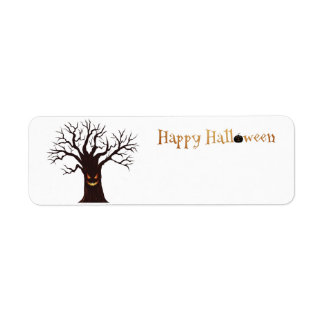 Scary Halloween Tree Face Return Address Label