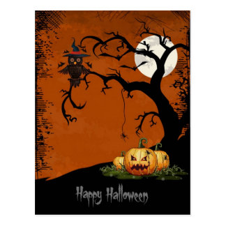Scary Halloween Tree With Pumpkins Postcard