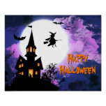 Scary Haunted Castle Flying Witch Halloween Party Poster