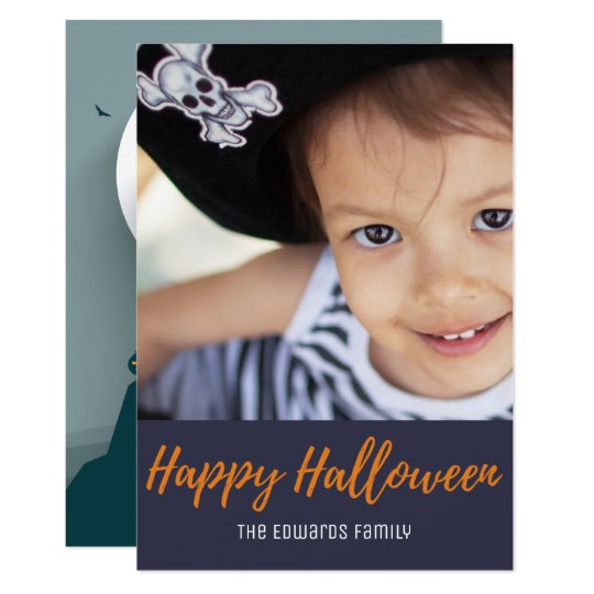 Scary Haunted House Full Moon Halloween Photo Card