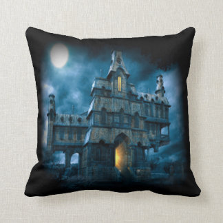 Scary Haunted House Throw Pillow