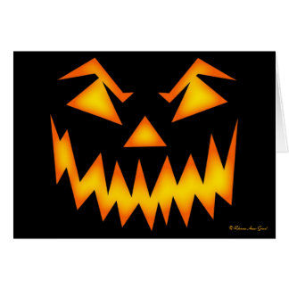 Scary Jack O' Lantern Face - Add Your Own Text Card