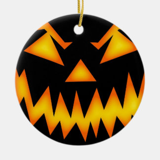 Scary Jack O Lantern Face Ornament Round