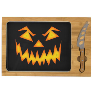 Scary Jack O Lantern Face Round Cheeseboard