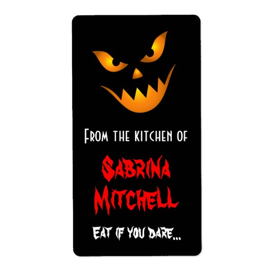 Scary Jack o lantern Halloween baking labels