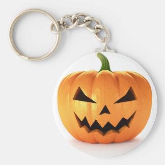 Scary Jack O Lantern Halloween Pumpkin Basic Round Button Keychain