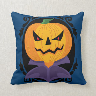 Scary Jack O Lantern Head Throw Pillow