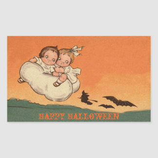 Scary Kids Bats and Witch on Broom Happy Halloween Sticker