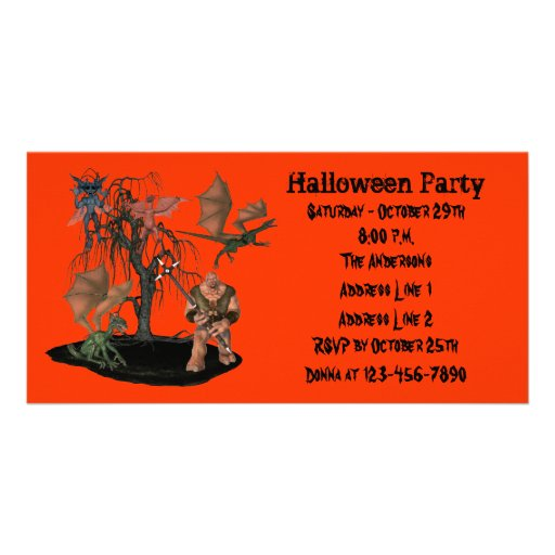 Scary Ogre Demon Dragons Halloween Party Invite Photo Card Template