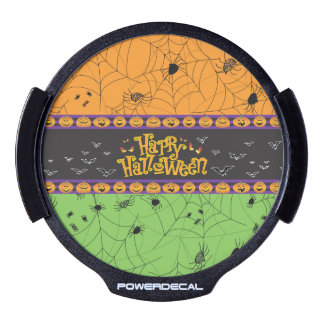 Scary Orange Green Halloween Spider Webs LED Window Decal