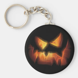 Scary Pumpkin Face Basic Round Button Keychain