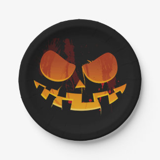 Scary Pumpkin Face Jack-O-lantern  Halloween Party 7 Inch Paper Plate