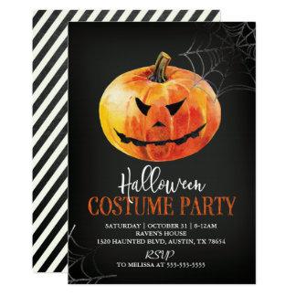 Scary Pumpkin Halloween Party Invitation