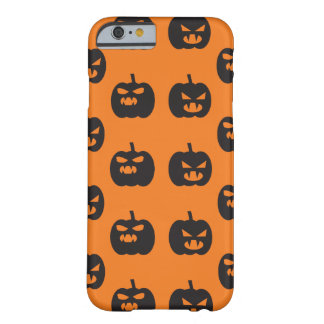 Scary pumpkins faces orange background Halloween Barely There iPhone 6 Case