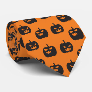 Scary pumpkins faces orange background Halloween Tie