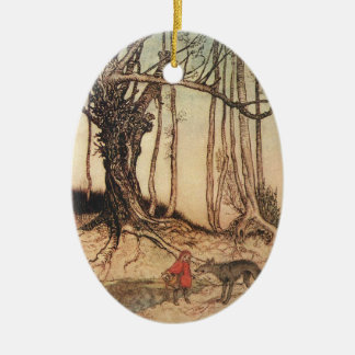 Scary Red Riding Hood Ceramic Oval Ornament