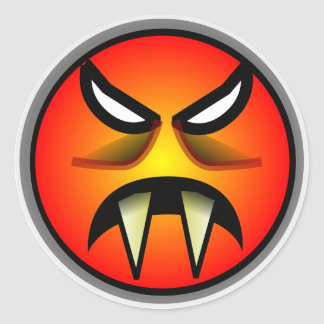 Scary Round & Orange Evil Devil Face with Fangs Classic Round Sticker