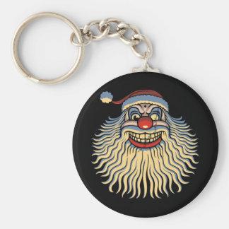 Scary Santa Clown Basic Round Button Keychain