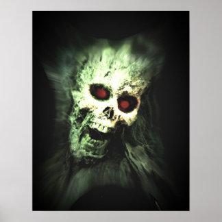 Scary screaming skull poster