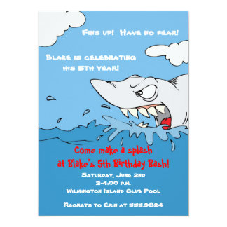 Scary Shark Birthday Pool Party Invite
