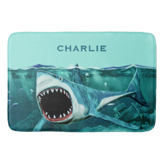 Scary Shark custom name bath mat