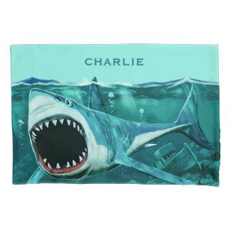 Scary Shark custom name pillowcases