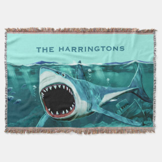 Scary Shark custom name throw blanket