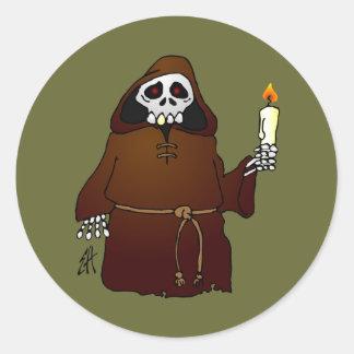 Scary Skeleton Monk Round Sticker