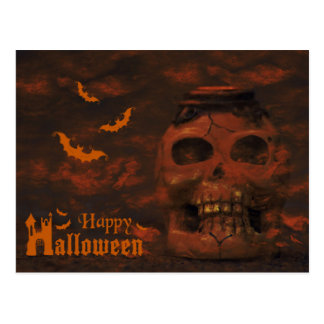 Scary Skull and Bloody Bats Halloween Postcard