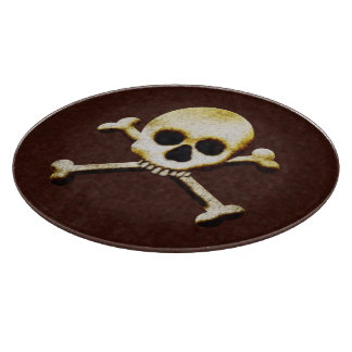 Scary Skull And Crossbones Halloween Haunted House Cutting Board
