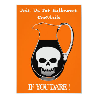 Scary Skull in Cocktail Pitcher Halloween Party Card