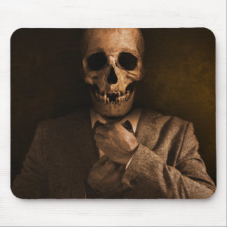 Scary Skull Man in Suit Mouse Pad