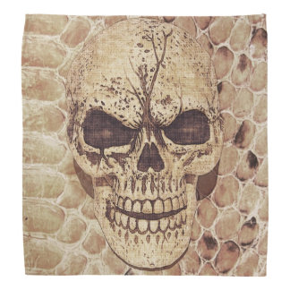 Scary skull on snakeskin bandana