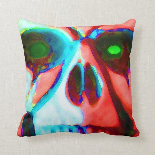 scary skull throw pillow