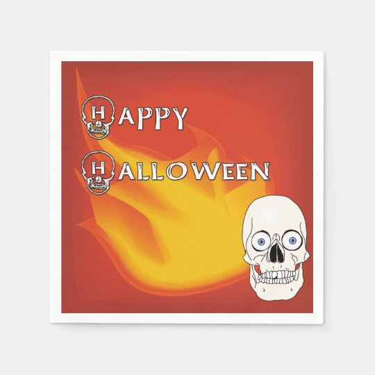 Scary Skull with Red and Yellow Ablaze Background Disposable Napkins