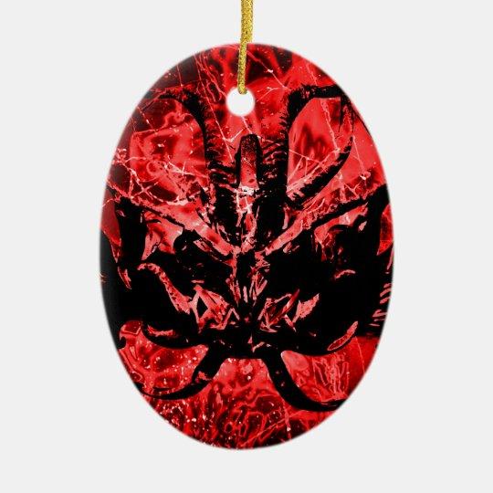 Scary Tribal Mask Ceramic Ornament