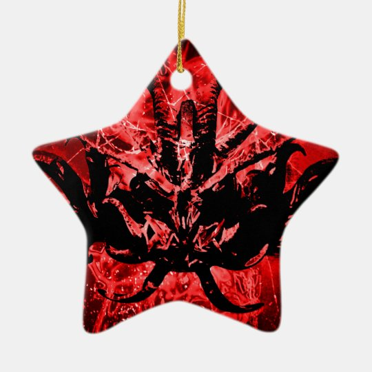 Scary Tribal Mask Ceramic Star Ornament