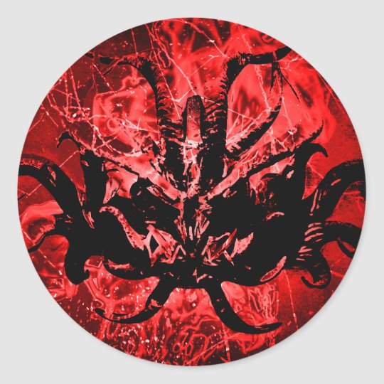 Scary Tribal Mask Round Sticker