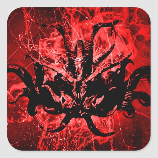 Scary Tribal Mask Square Sticker