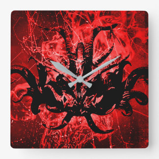 Scary Tribal Mask Square Wall Clock