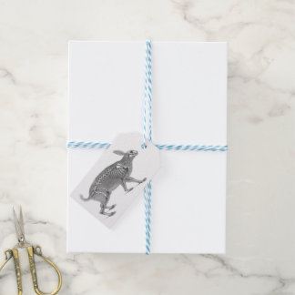 Scary vintage bunny skeleton gift tags