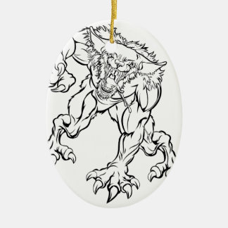 Scary Werewolf  Monster Character Ceramic Ornament
