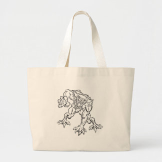 Scary Werewolf  Monster Character Large Tote Bag